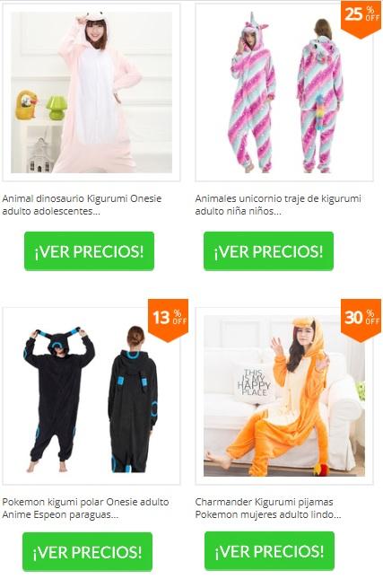 pijamas kigurumi de unicornio, dinosaurio, espeon y chamander