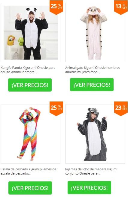 pijamas de cuerpo entero de panda, de gato y de lobo