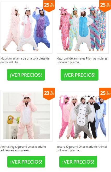 pijamas onesie de panda, de cerdito y de unicornios