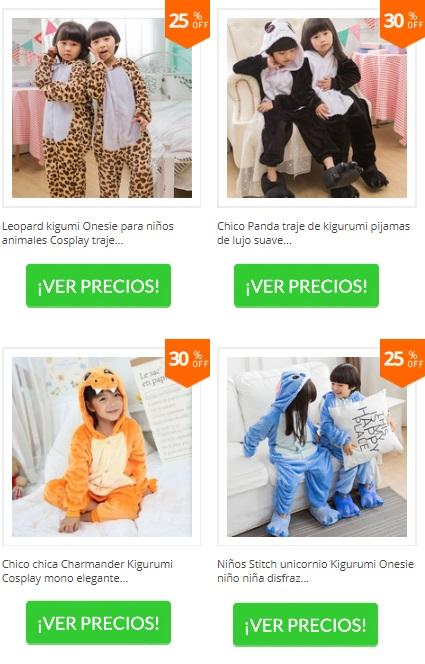 pijamas tipo mono para niños de leopardo, de oso panda y Stitch